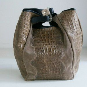 Suede Leather Croc Textured Tan Brown Large bag